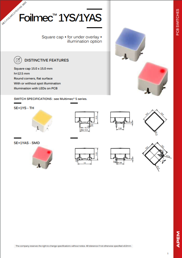 Datasheet MEC Switches Foilmec™ 1YS-1YAS Series