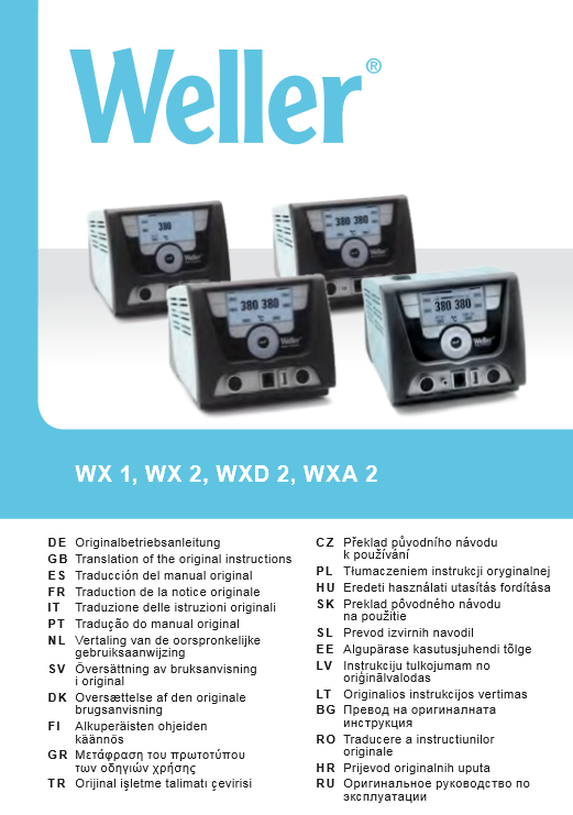 Manual Weller WX Units Quick Start