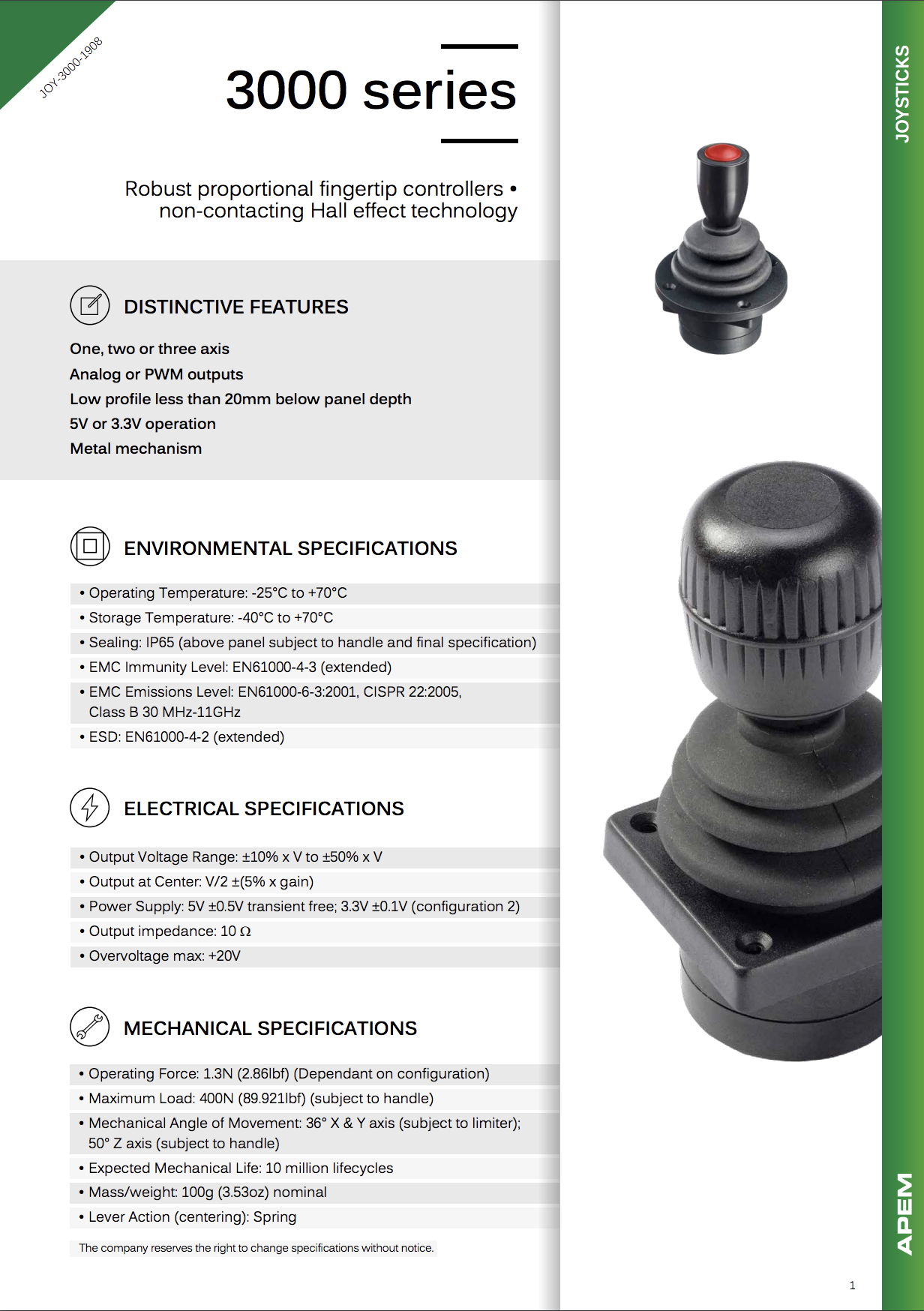 Datasheet Joysticks Apem 3000 Series