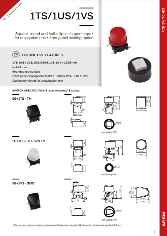 Datasheet MEC Switches 1TS-1US-1VS Series