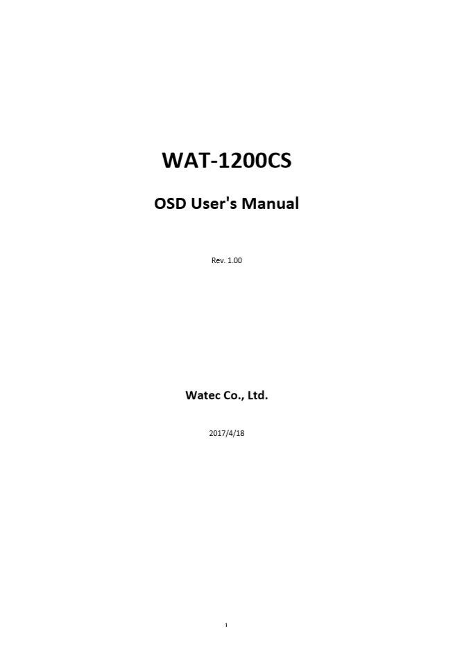 WAT-1200CS OSD User Manual