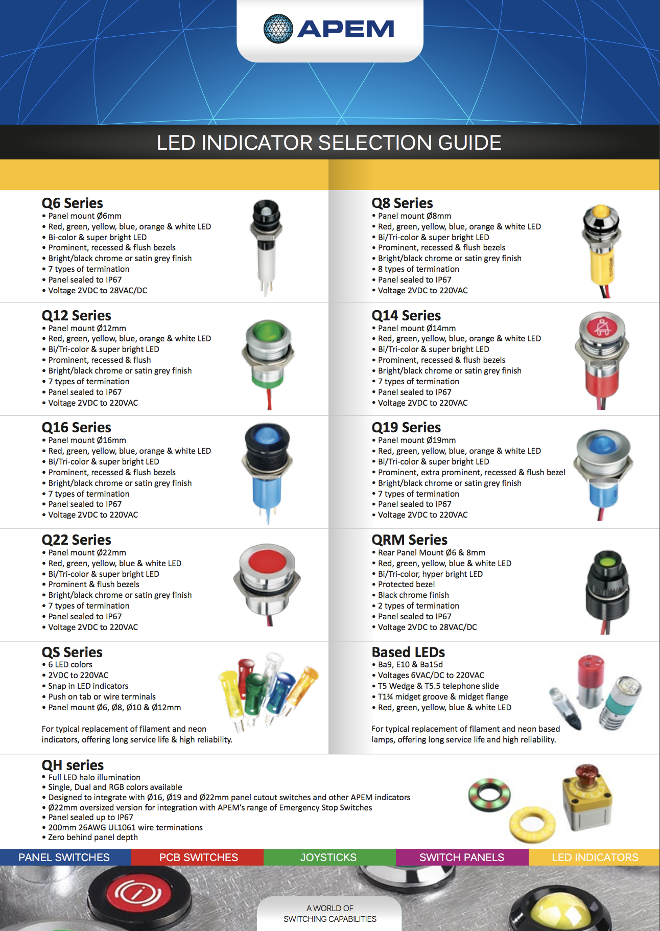 APEM LED Indicator Selection Guide