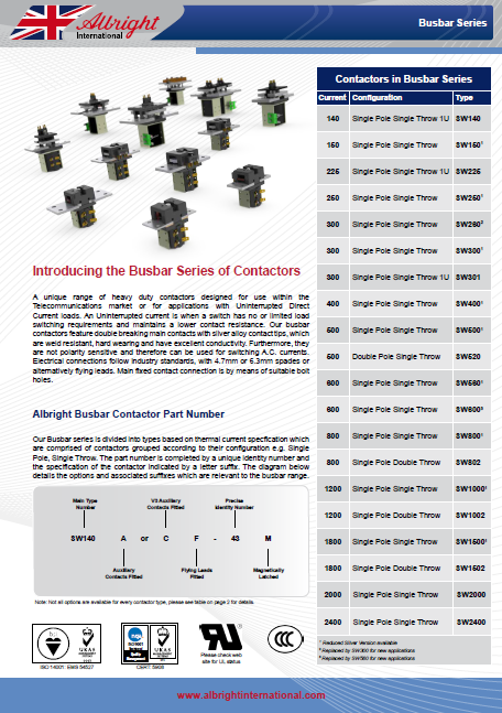 Каталог- Albright-Busbar-Series