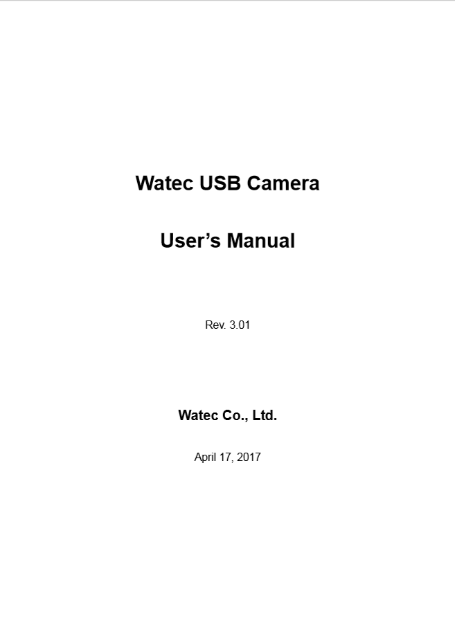 User Manual Watec USB Camera