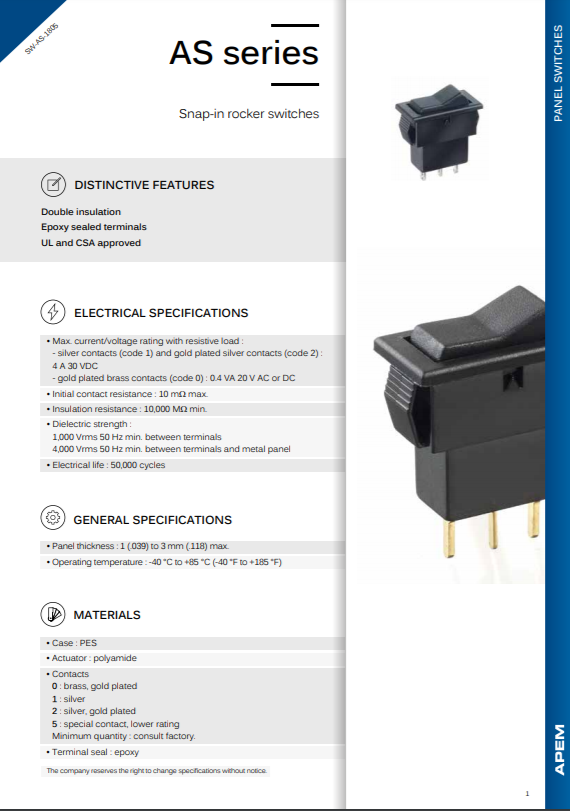 Datasheet Apem AS Series