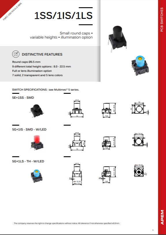 Datasheet MEC Switches 1SS-1IS-1LS Series