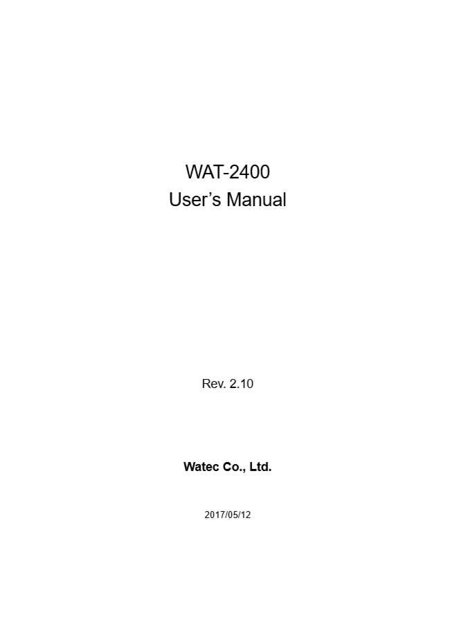 User Manual WAT-2400