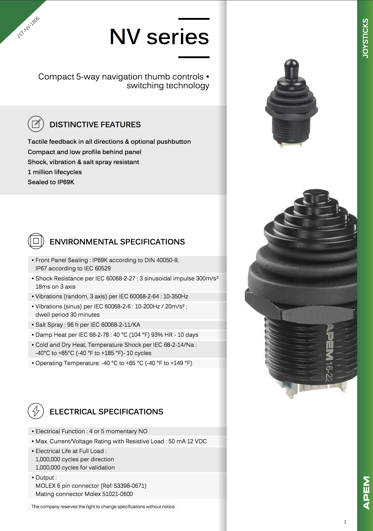 Datasheet Joysticks Apem NV Series