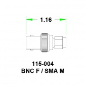 JFW переходник 115-004, SMA Male - BNC Female, 0 MHz - 6 GHz, 50 Ohm