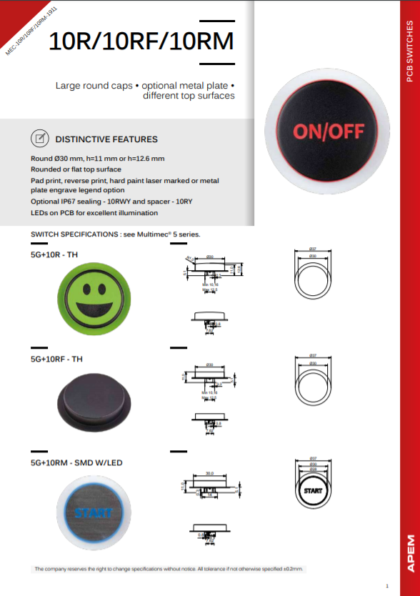 Datasheet MEC Switches 10R-10RF-10RM Series