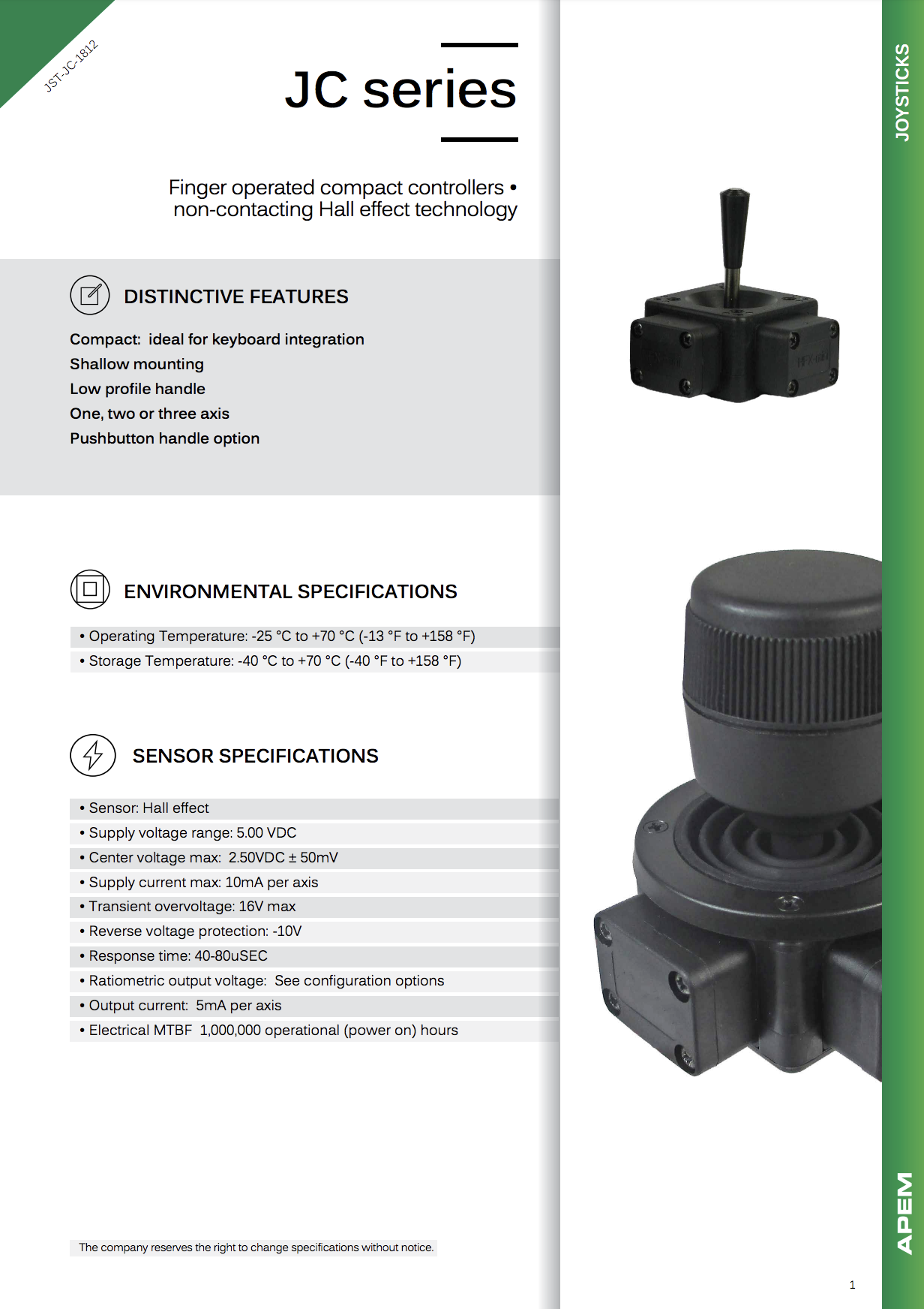 Datasheet Joysticks Apem JC Series