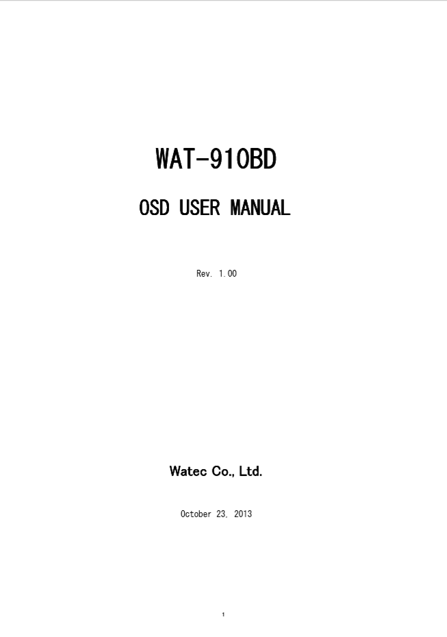 WAT-910BD OSD User Manual