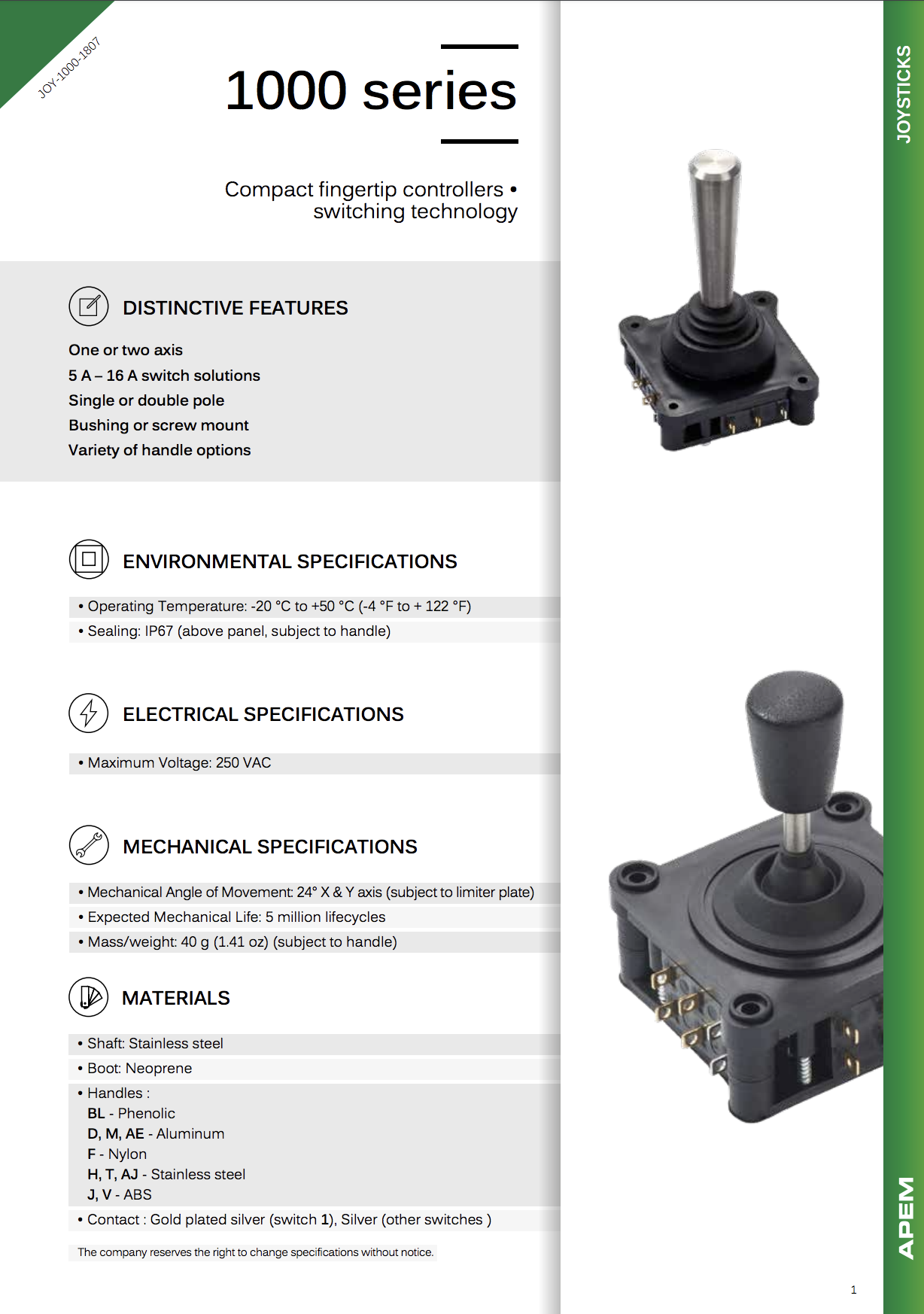 Datasheet Joysticks Apem 1000 Series