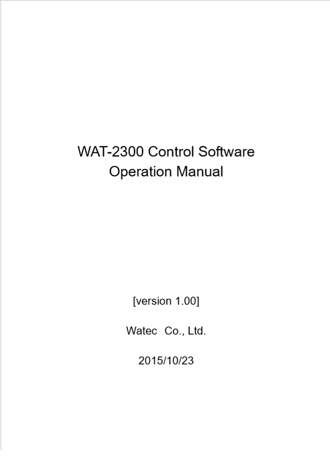 WAT-2300 Control Software Manual