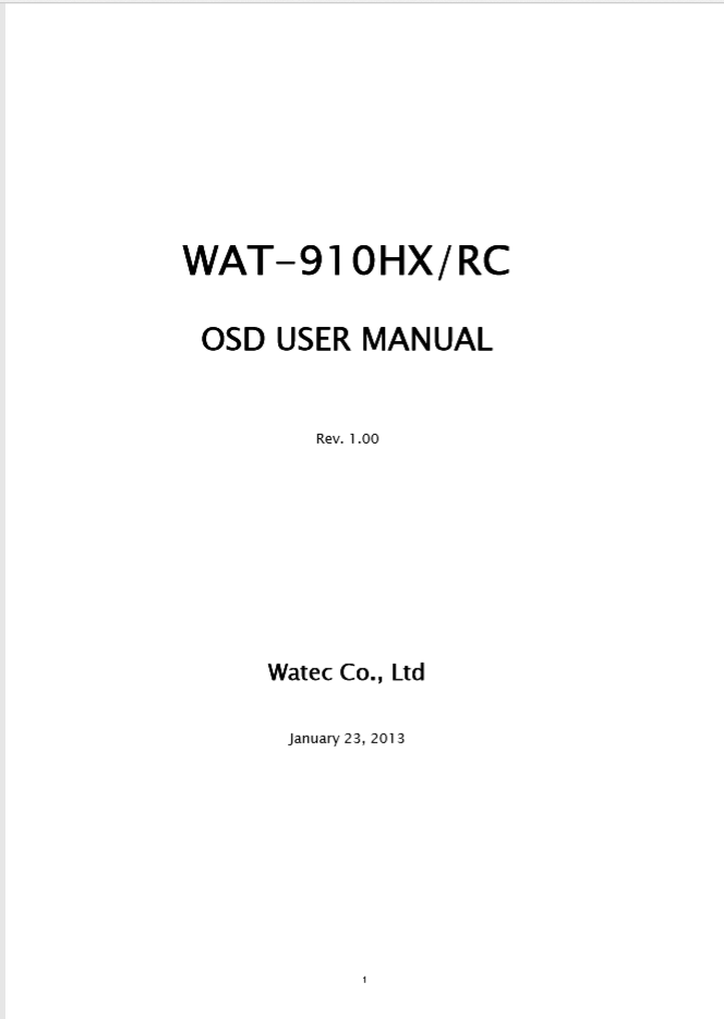 WAT-910HXRC OSD User Manual