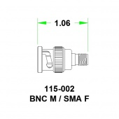 JFW переходник 115-002, SMA Female - BNC Male, 0 MHz - 6 GHz, 50 Ohm
