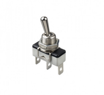 Apem 1019С тумблер, 1 A, 1 pole, ON-OFF-ON, Solder lug/quick-connect
